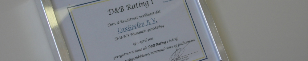 D&B rating 1 certificaat